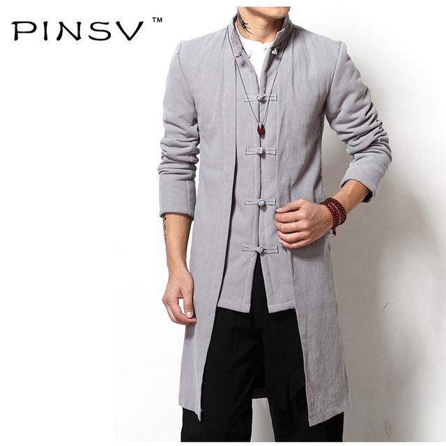 Pinsv hombres ropa de estilo chino de alta calidad de algodón y lino largo abrigo hombres dress ropa de abrigo hombres de la chaqueta prendas de vestir exteriores de la marca