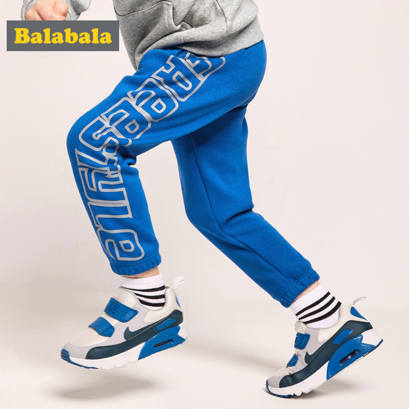 Balabala Todder Boy Fleece-Lined Printed Pull-on Joggers Children Kids Sweatpants Sport Pants with Side Pocket Ribbing at Waist