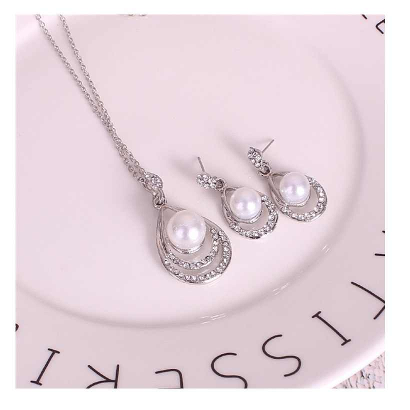 M MISM Silver Women Necklace Rhinestone Jewelry Sets Designed Beautiful Korean Style Crystal Pearls Earrings Party Accessories