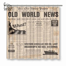 NYAA Old Newspaper Shower Curtains Polyester Fabric For Home Decor