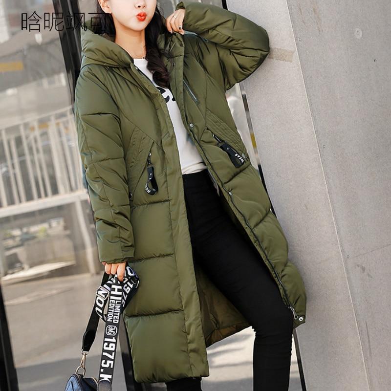 Plus Size 2018 Women   Parkas   Long Winter Female Warm Thicken Slim Ladies Hooded Jackets Navy Blue Zipper Coats Outwear   Parka