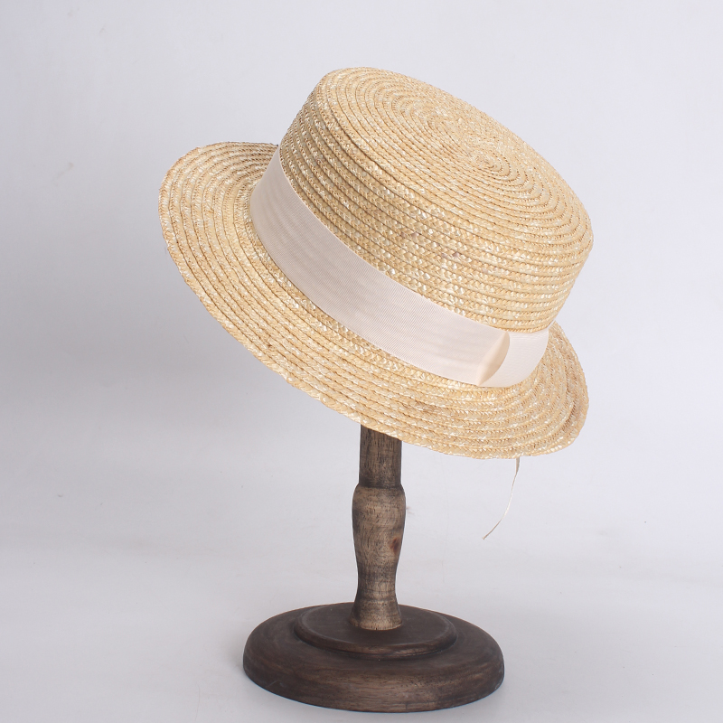 Women White Summer Hat Fashion Flat Top Boater Hats Beach Straw Hat Chapeu