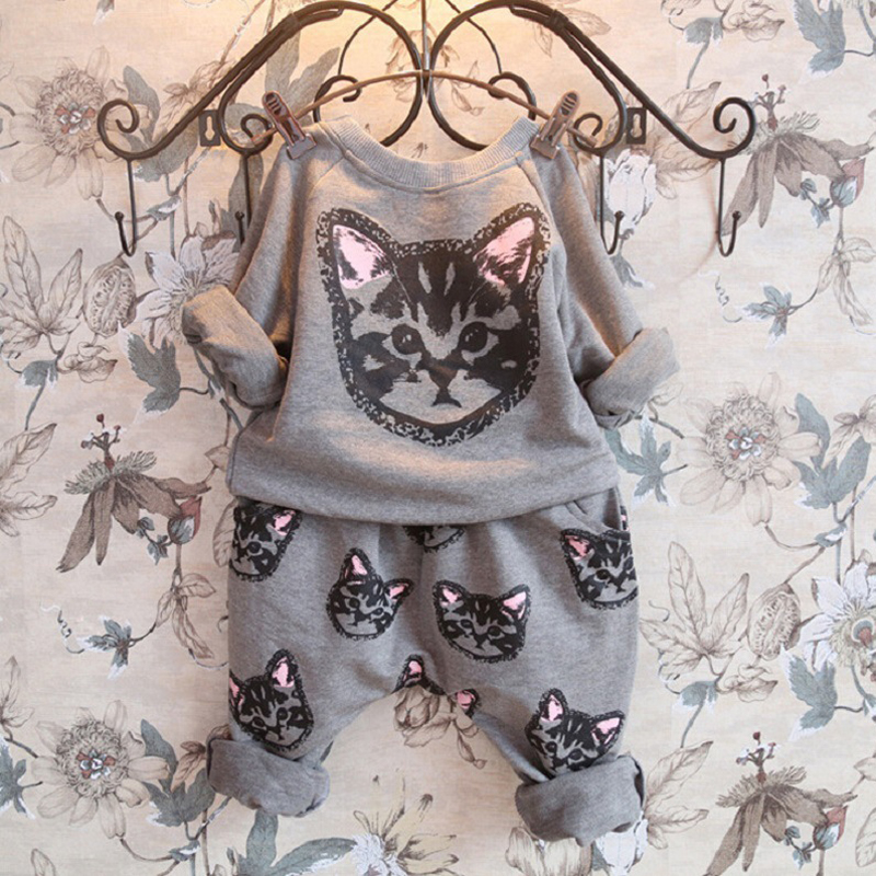 Childrens Spring Collection Girls New Set Cartoon Cat Pattern Pants Set
