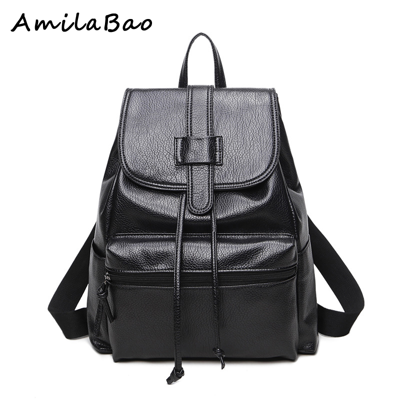 women backpacks fashion vintage Preppy Style backpack school bags leather laptop backpack balck color women leather