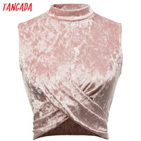Tangada Sexy Velvet Tank Top Tees For Women Pink Bustier Crop Top Turtleneck Party Black Short Tops Female Camisole Tank XD6