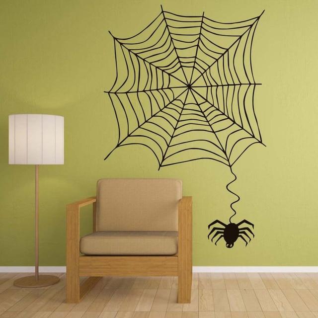 Funny Araneid Spider Web Wall Sticker For Kids Room Removable Vinyl ...