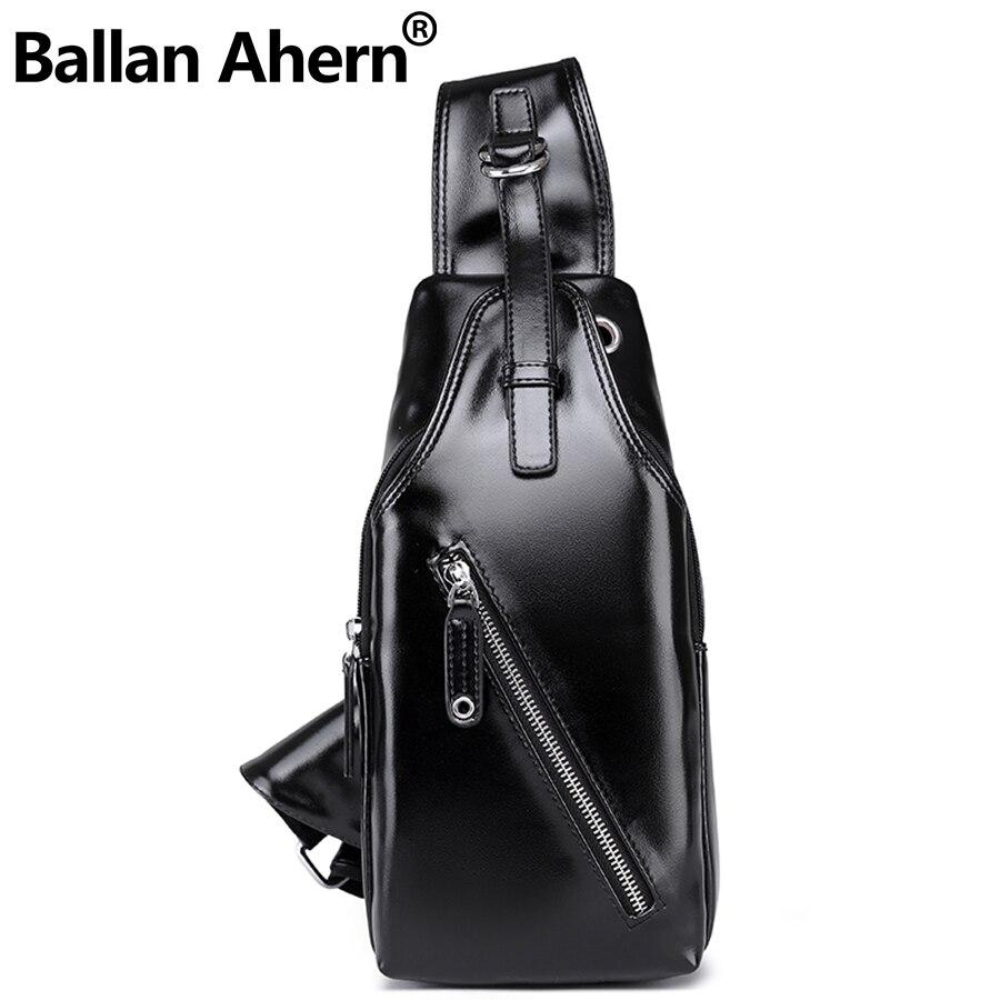Summer Bag Men Chest Pack Single Shoulder Strap Back Bags Leather Travel Men Crossbody Bags Vintage Chest Bag 15034