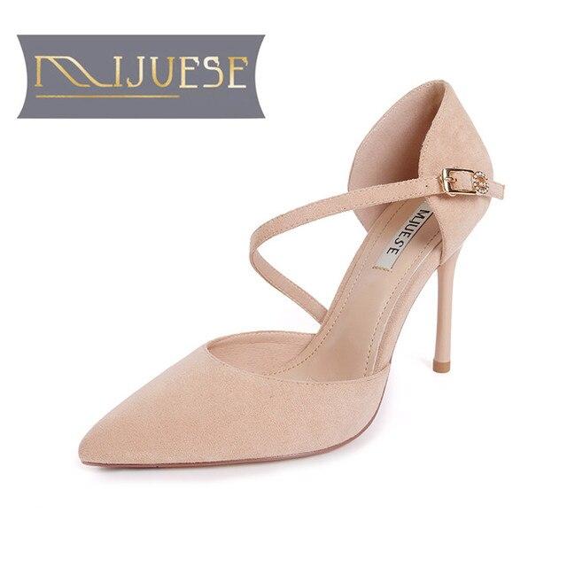 Mljuese 2018 женские туфли-лодочки Осень-весна с острым носком тонкий каблук Пряжка ремень розовый цвет Обувь на высоком каблуке размер 34-39