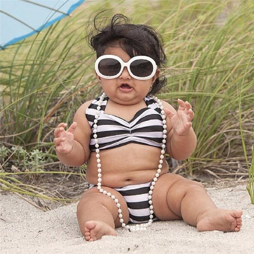 Telotuny Kids Baby Girls Toddler Halter Gold BOW Striped One Piece Swimwear Swimsuit Heaband 2PCS Bikini Set Bathing Suit MAY 29