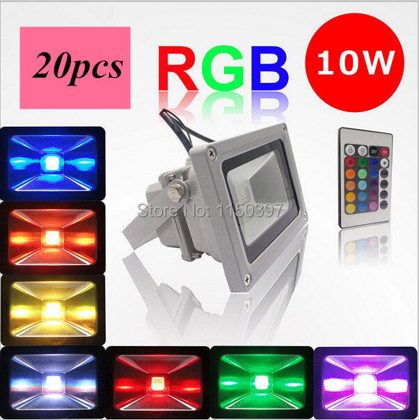 20 pieces / lot 10W RGB AC85-265V Waterproof LED Flood Light Projector LED Wash Light Floodlight Outdoor Search Lamp