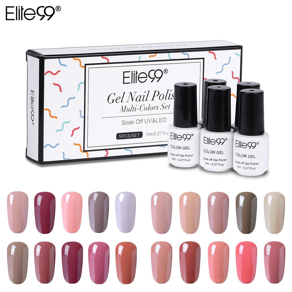 Elite99 5 peças/lote Nu Cor Gel Polonês Com Caixa De Presente Cor Platina Polonês Gel UV Soak Off Nail Art Manicure vernizes Gel