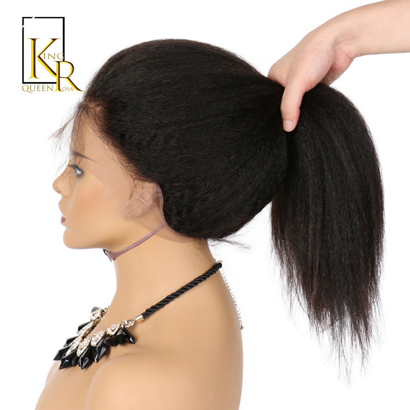 Full Lace Human Hair Wigs For Women Remy Brazilian Kinky Straight Wig Pre Plucked With Baby