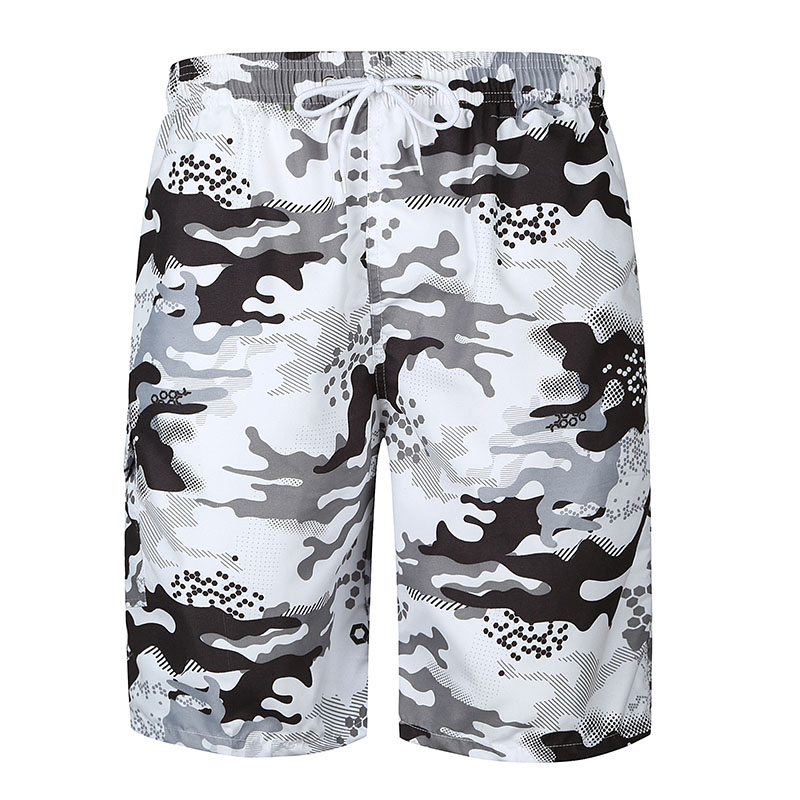 Men Summer Beach Shorts Thin Breathable Quick Dry Camouflage Print Short Pants FS99