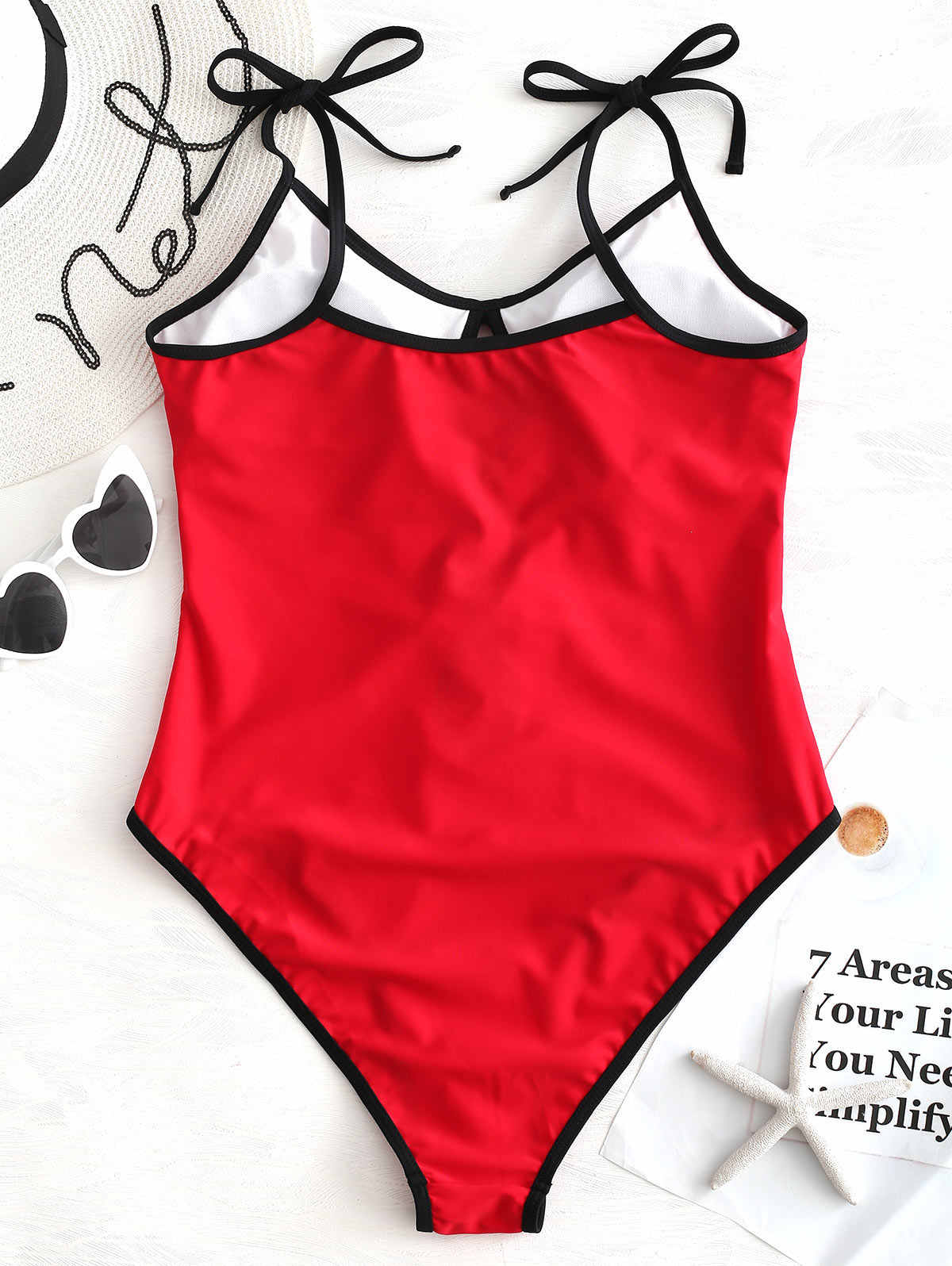 ZAFUL czarny i czerwony Colorblock jedno ramię jednoczęściowy strój kąpielowy kobiety stroje kąpielowe wiązanej łuk Monokini stroje kąpielowe strój kąpielowy bikini 2019 Mujer