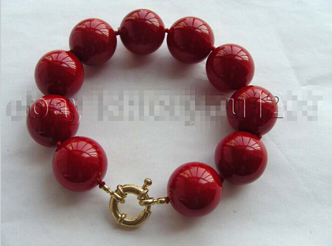 hot sellNatural 20mm Red Round Shell Pearl Bracelet! Bridal jewelry free shipping