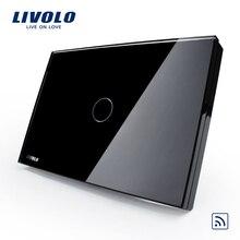 US/AU standard,Livolo Black Pearl Crystal Glass Panel, VL-C301R-82,110~250V,433.92MHz Wireless Remote Home light Switch