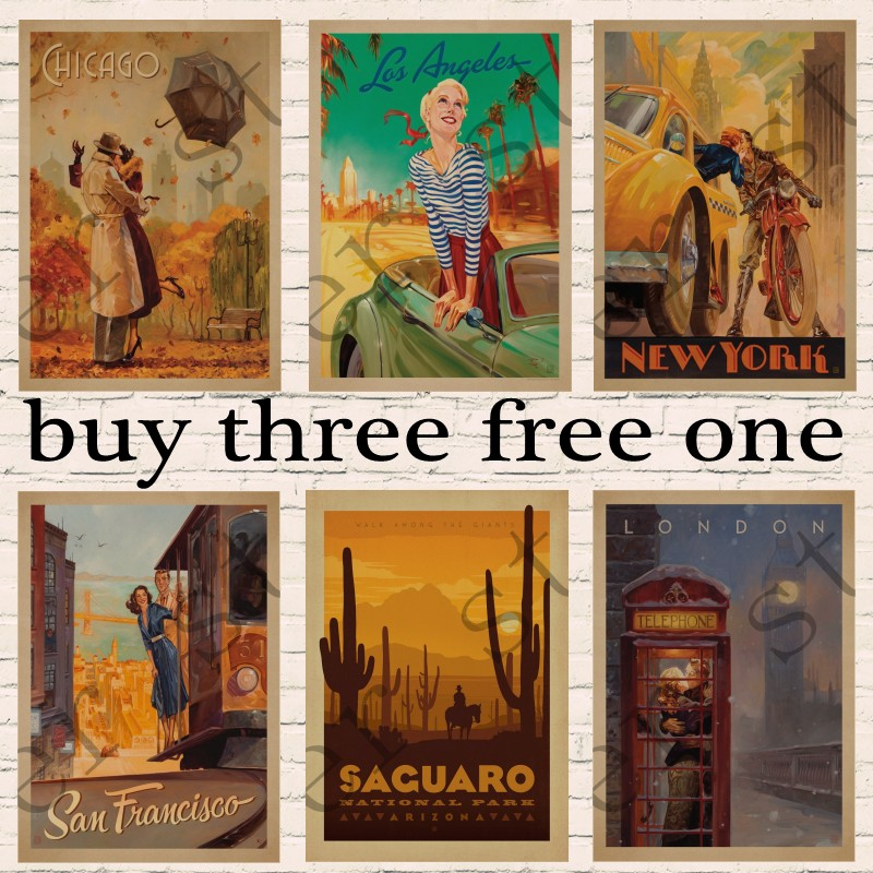 Vintage Travel Paris/London/ Brazil / romantic Poster Retro Kraft Travel Poster Decorative DIY Wall Sticker Home Bar Posters shelf
