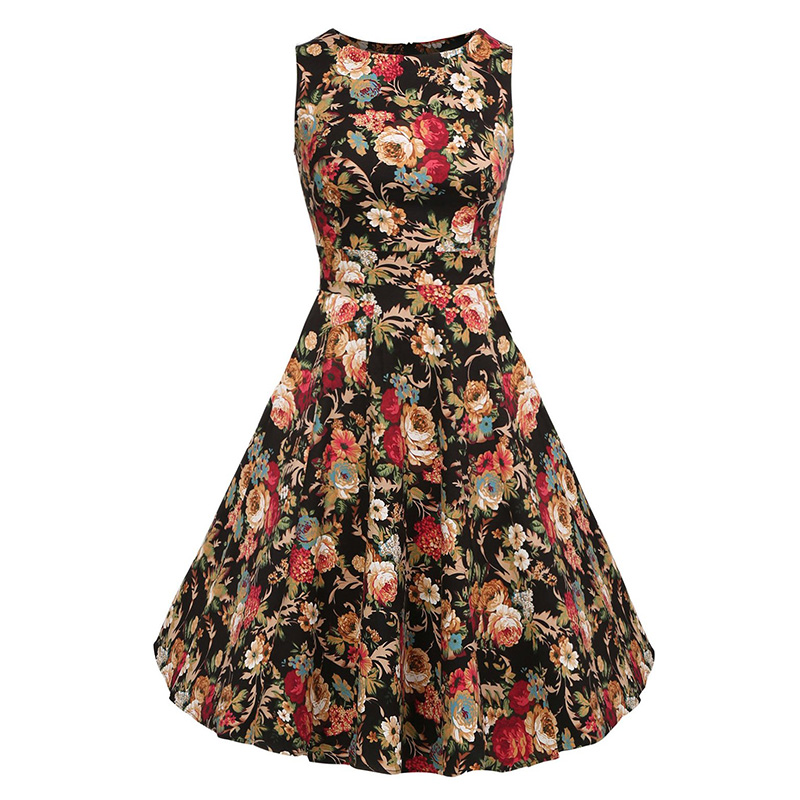 Kostlish Cotton Summer Dress Women 2017 Sleeveless Tunic 50s Vintage Dress Belt Elegant Print Rockabilly Party Dresses Sundress (33)