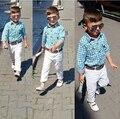 DTZ286 Новая Мода Мальчиков Комплект Одежды Детей Хлопка свободную клетчатую рубашку + Брюки + Пояс 3 шт.. миньон Дети одежда набор