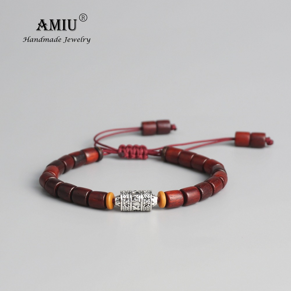 AMIU Handmade Tibetan Prayer Wheel Bead Bracelet Tibetan Buddhist Mantra Sign Charm Natural Sanders Wood Mala Beads Bracelet