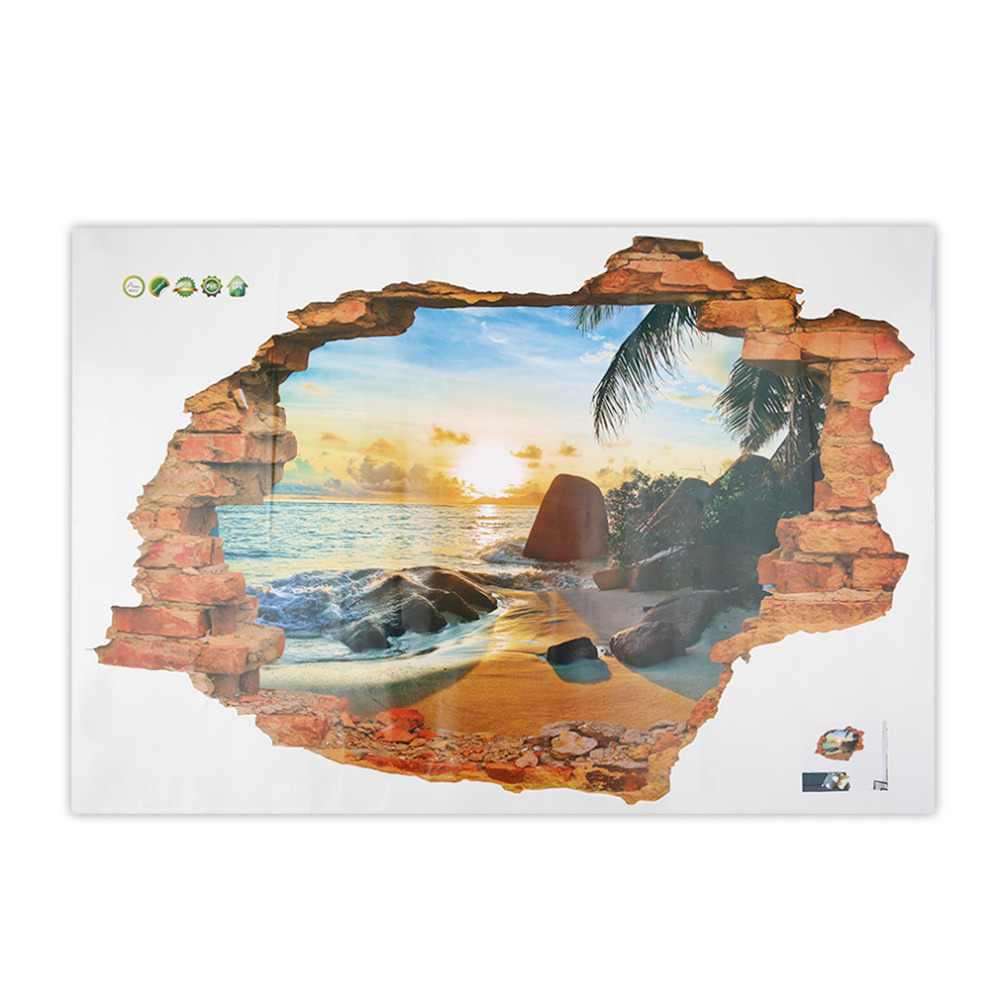 Hot Sale! 3D Beach Sunshine Scene Wall Stickers Decals for Home Bedroom Decoration