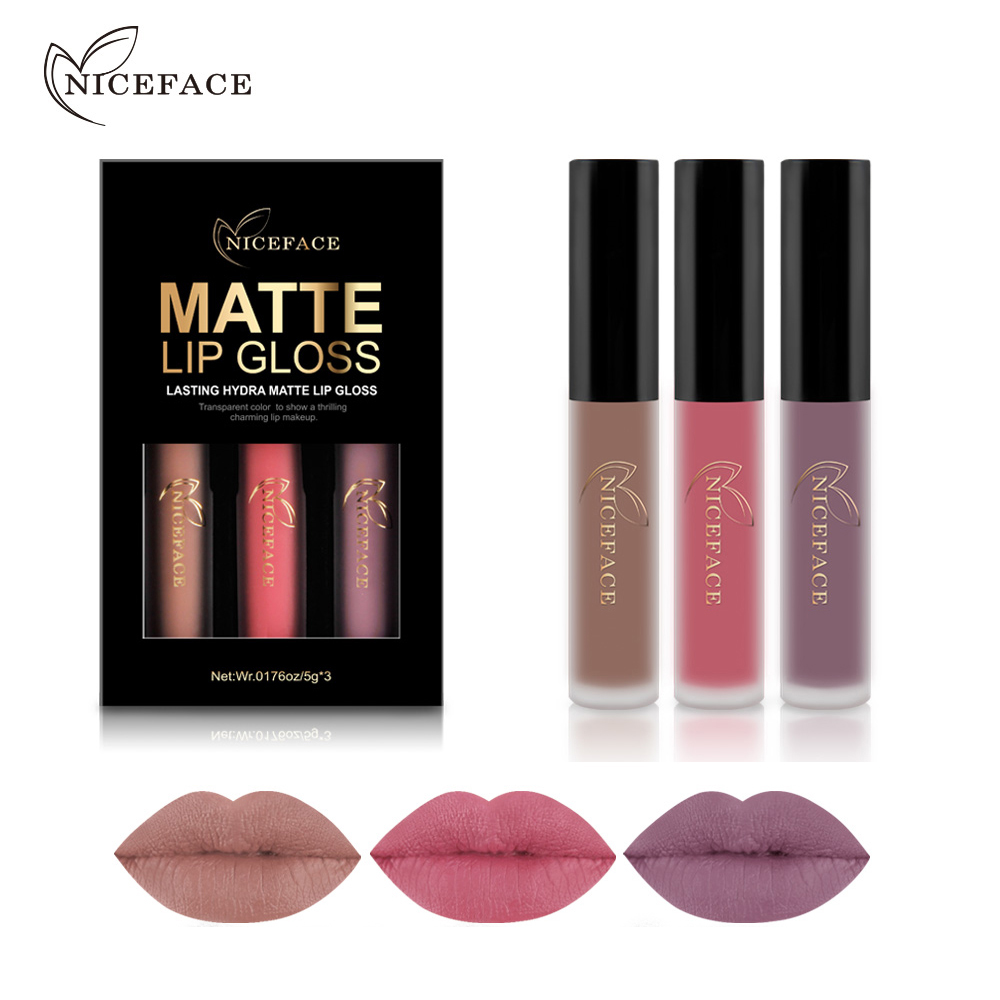 NICEFACE 3st / lot Läppstift Ställer långvarig Matt Liquid Lip Stick Kits Smink Vattentät Sammet Batom Naken Lip Gloss Kosmetika