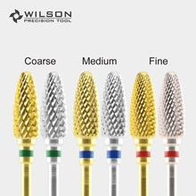 цена на Flame Bits - Gold/Silver - WILSON Carbide Nail Drill Bits Electric Manicure Drill & Accessory