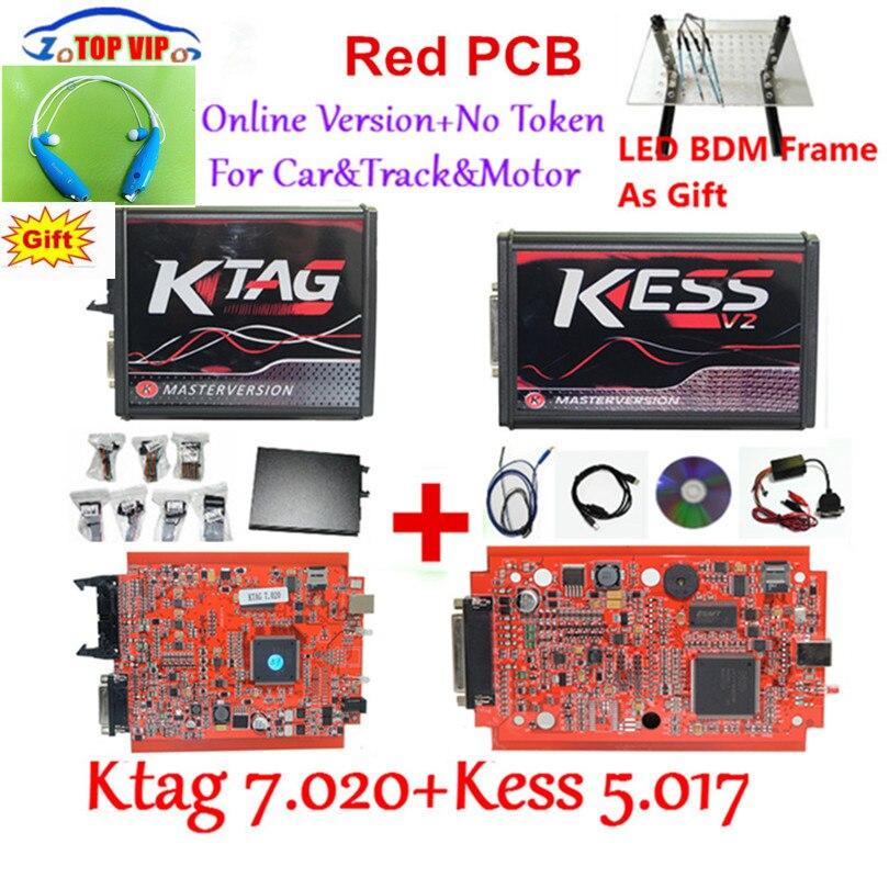Neueste KTAG 7,020 100% Kein Token Begrenzte Kess 5,017 V2.47 Chip Tuning Kit KTAG 7,020 Master V2.23 E + LED BDM Rahmen Kess V2