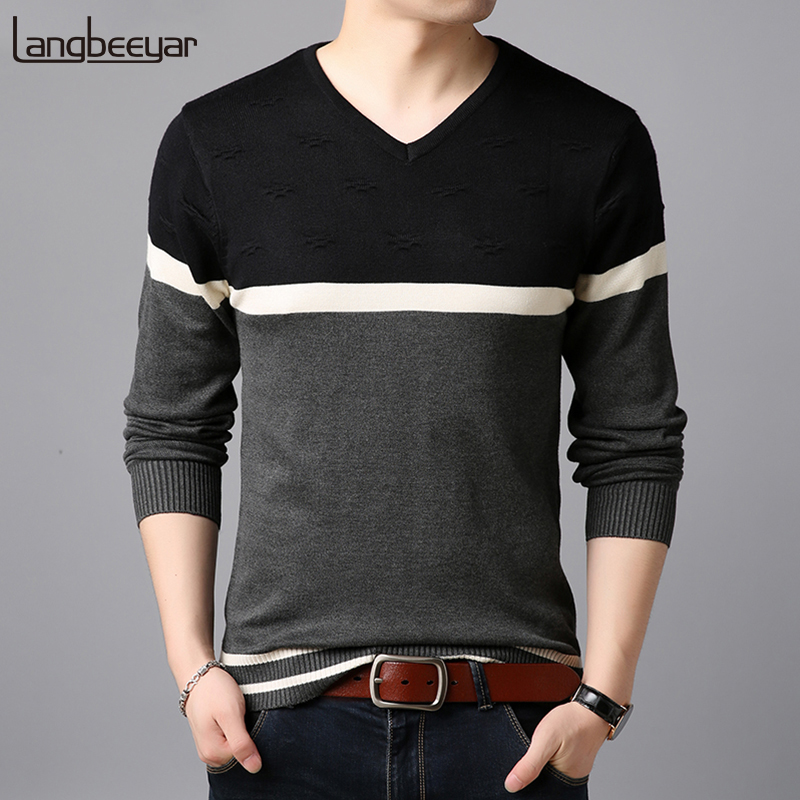 2019 New Fashion Brand Sweater  Man Pullovers Warm Slim Fit Jumpers Knitwear Woolen Autumn Korean Style Casual Mens Clothes