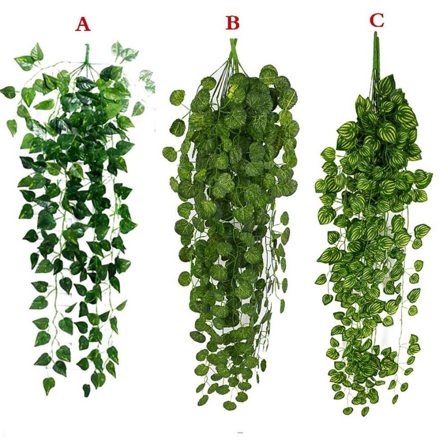 1Pcs Artificial Fake Hanging Vine Plant Leaves Garland Home Garden Wall Decoration Green May23 1