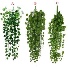 1 Pcs Buatan Palsu Hanging Vine Tanaman Daun Garland Garden Home Wall Dekorasi Hijau May23 Drop Pengiriman(China)