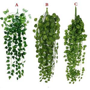 Image 1 - 1Pcs מלאכותי מזויף תליית גפן צמח עלים זר בית גן קיר קישוט ירוק May23