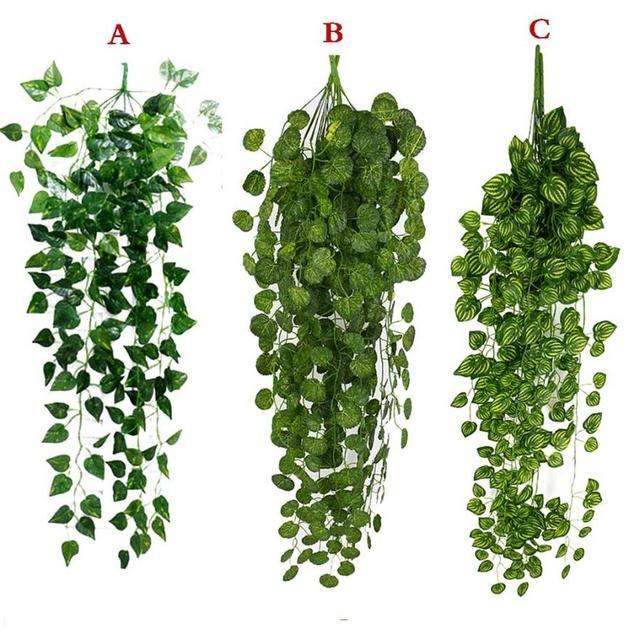 1Pcs מלאכותי מזויף תליית גפן צמח עלים זר בית גן קיר קישוט ירוק May23
