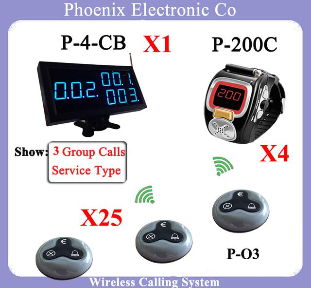 Inalámbrico Servicio de Camarero Sistema de Llamada de Servicio de Buscapersonas Cola Muestra Reloj P-200C y Multi-Clave La Cena Llamada Campana de Cocina botón