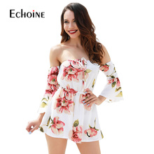Sexy fashion Floral Print Women Jumpsuit 2019 Summer Beach Off Shoulder Body suit Casual Loose Playsuit plus size 4XL jumpsuits sexy off shoulder playsuit in random floral pattern