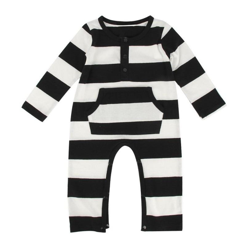 33b13525b 2017 Newborn Baby Soft Rompers Casual Black White Stripes Long ...