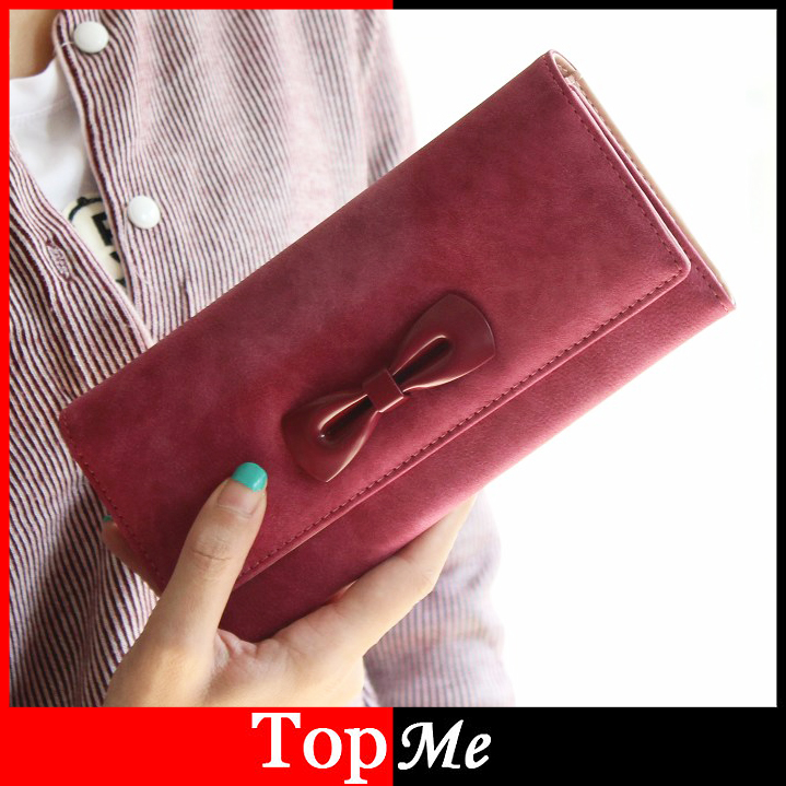 Lady Wallets Matte PU Leather Bow Clutch Women Coin Purse Money Bags Card Holder Brand Long Fashion Woman Wallet Burse Handbags youyou mouse high quality women long wallets fashion pu leather money wallet 6 colors lady clutch coin purse card