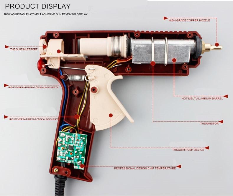 LIJIAN EU / USA dugaszoló meleg olvadású ragasztópisztoly, 100W - Elektromos kéziszerszámok - Fénykép 3