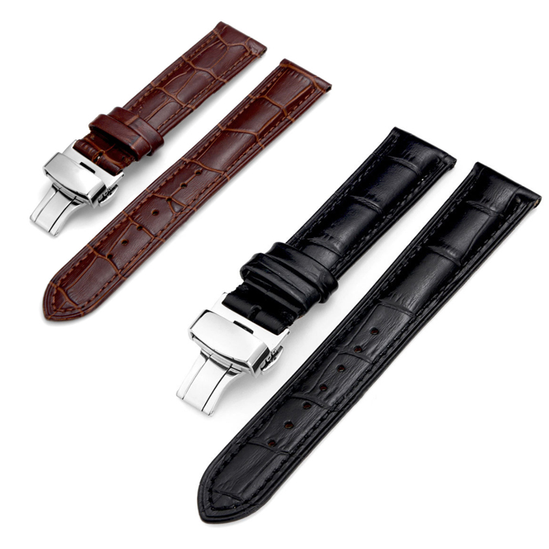 20mm-22mm New Watch Bracelet Belt Black Watchbands Genuine Leather Strap Watch Band Watch Accessories Wristband все цены