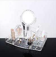 Acrylic Transparent With Mirror Nail Art Tool Brush Cosmetics Nail File Perfume Eyebrow Pencil Cotton Swab Desktop Storage Box