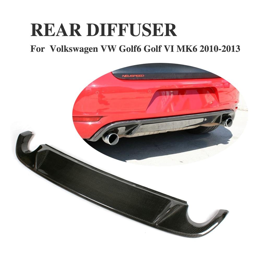 Carbon Fiber Rear Diffuser Lip Spoiler For Volkswagen VW Golf 6 VI MK6 GTI Bumper 2010-2013 Exhaust Diffuser Car Styling