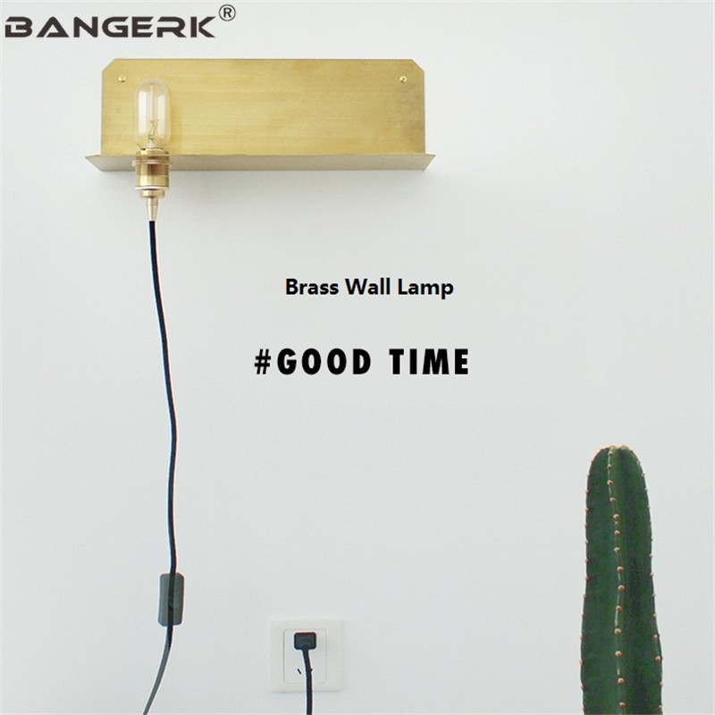 Loft Brass Wall Sconce Lighting Indoor Edison Industrial Vintage Wall Light With Plug Switch Bedside Wall Lamp Home Decor