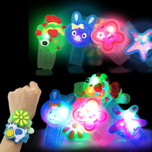 Free Shipping Cartoon Flashing Strap LED Wristband Bracelets Holiday Light Up Toys Children Baby Kids To