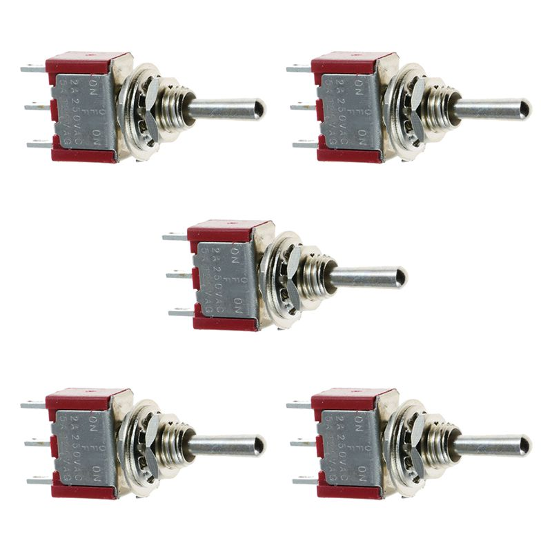 5 x Mini Momentary (On)Off(On) Toggle Switch Model Railway SPDT 12V,silver
