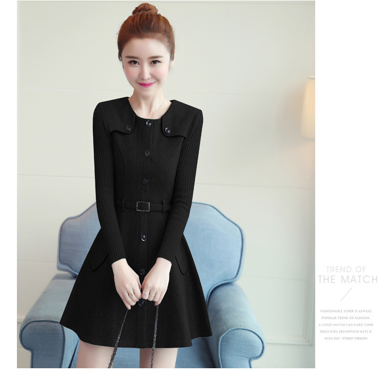 winter new round collar single-breasted cloth dress belt buttons A word women dresses Korean fashion outfit lady vogue vestido 36