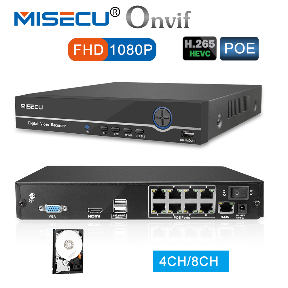 MISECU 4CH 8CH 1080P 48V POE NVR XMEYE 802.3af P2P ONVIF Network Video Recorder Full HD 2.0MP for POE IP Camera CCTV Security 8ch 1080p hd realtime onvif poe network video recorder dahua hikvision 2mp poe camera support 8ch poe nvr recorder 48v poe nvr