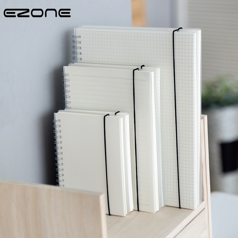 EZONE A5/A6/B5 Transparent Frosted PP Cover Notebook Line/Grid/Point/Blank Pages Bandage Coil Notebooks Simple Style Notebook