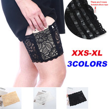 Women Sexy Lady Anti Chafing Floral Lace Thigh Bands Slip Silicone Leg Warmer Phone Pocket Card Cell Three Rows Plus size Drop(China)