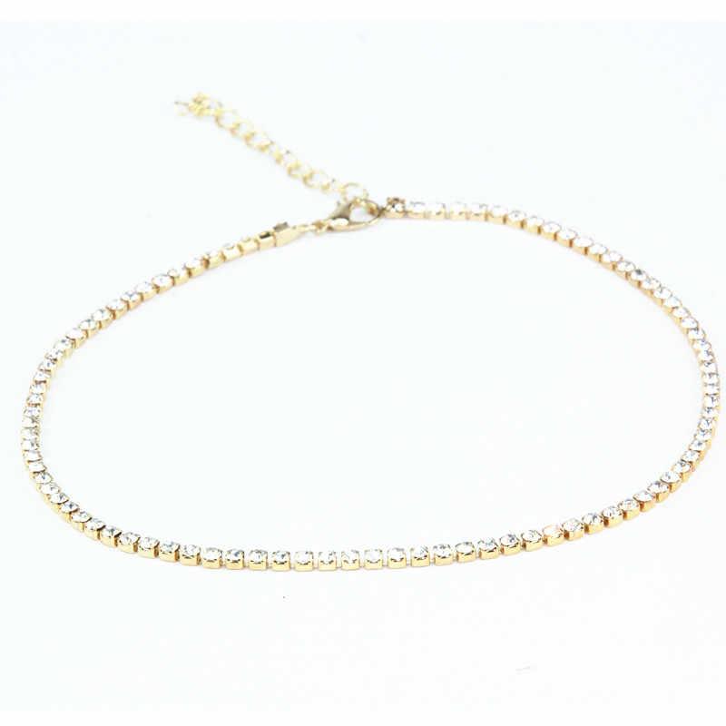 X186 europa i stany zjednoczone 1 jednostek kobiet cienki metal Choker naszyjniki lśniąca złota kolor łańcuch naszyjniki hurtownie gorąca sprzedaż