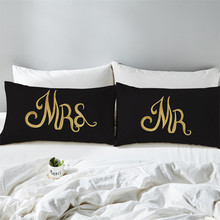Couples Pillowcase Letter Mr Mrs Print Pillow Case King Queen Cover Valentines Day Gift Bedding Home Textile